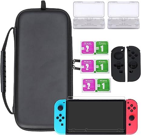 Wemk Nintendo Switch Pack Completo de protección incluye : 1 Estuche/Funda de color Negro con muñeca,
