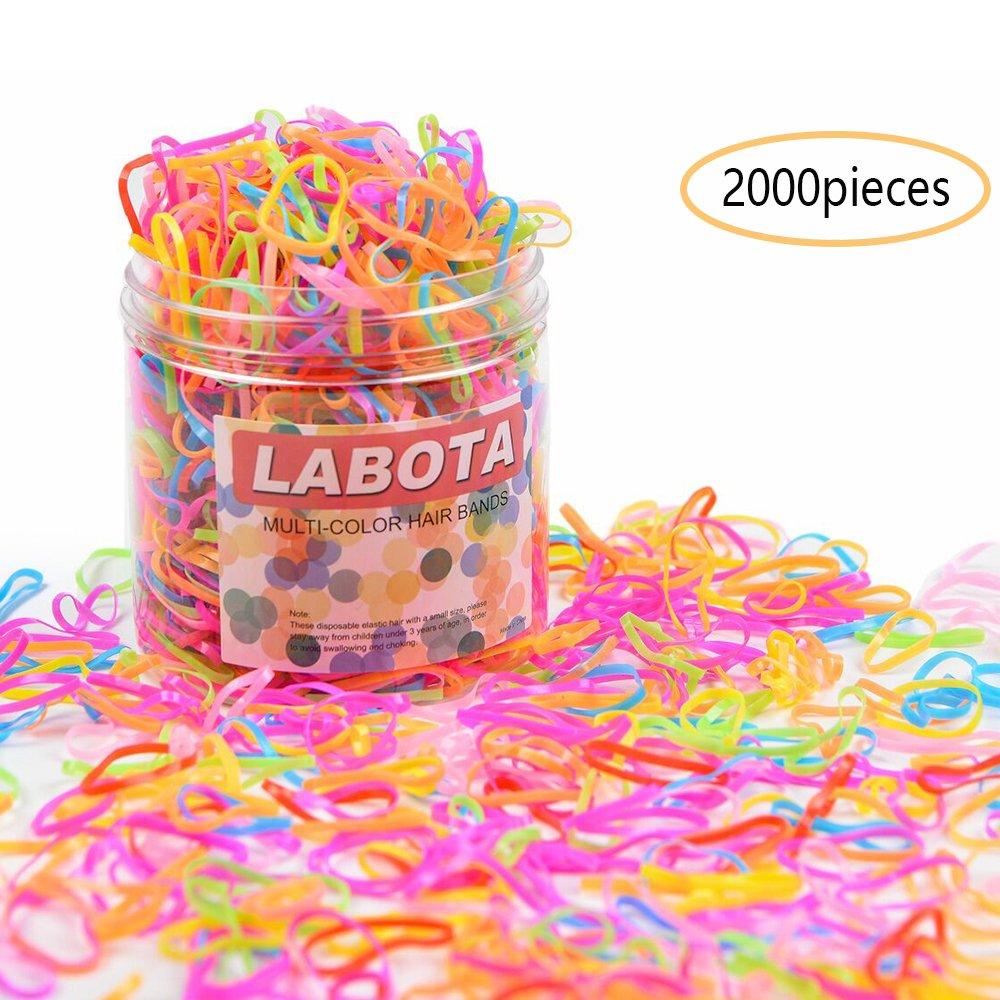 LABOTA Confezione da 2000 Multicolore Elastici Fasce Piccolo di colore della caramella elastica dei capelli dei capelli per neonate
