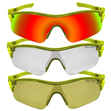 VeloChampion Warp Gafas de Sol (con 3 lentes: inc naranja, amarillo, claro) Fluro Amarillo Yellow Sunglasses