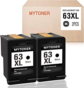 MYTONER Remanufactured Ink Cartridge for HP 63 XL 63XL for Officejet 5258 5255 4655 3830 4650 3833 3831 Envy 4520 4512 4516 Deskjet 1112 3632 2130 2131 3630 3633 3634 Printer (2 Black)