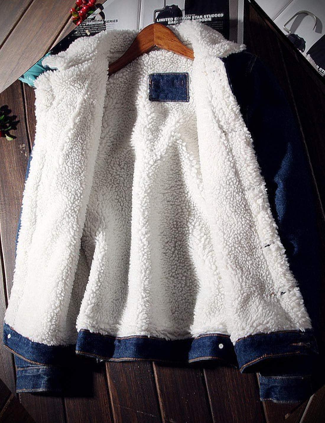 Omoone Mens Lapel Sherpa Fleece Lined Thicken Denim Jean Trucker Jacket Coats