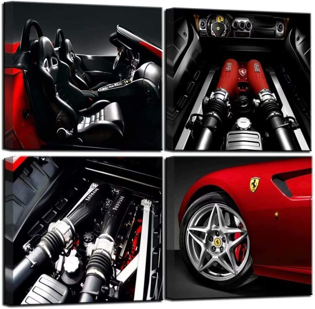 Amazon Com Car Wall Decorations For Living Room Decor For Men Black And White Wall Art Red Car Decor Ferrari Engine Feature Boy Room Decor Car Posters Home Decorations 4 Piece Framed Canvas