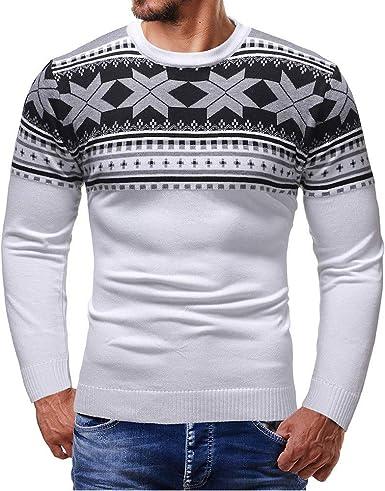 Overdose Camisa Hombres OtoñO Nuevo Invierno Pullover Top De Punto TripulacióN Cuello Impreso Moda SuéTer De Navidad Outwear Blusa: Amazon.es: Ropa y accesorios