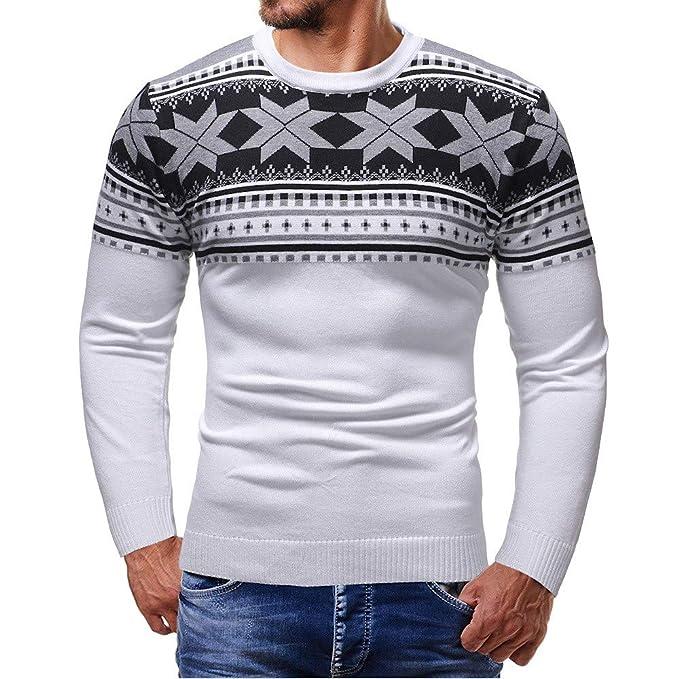Hombres Suéteres Navidad Raindeer Copo de Nieve Impreso Otoño Invierno Jersey de Punto Tops Suéteres Outwear Blusas Rovinci: Amazon.es: Ropa y accesorios