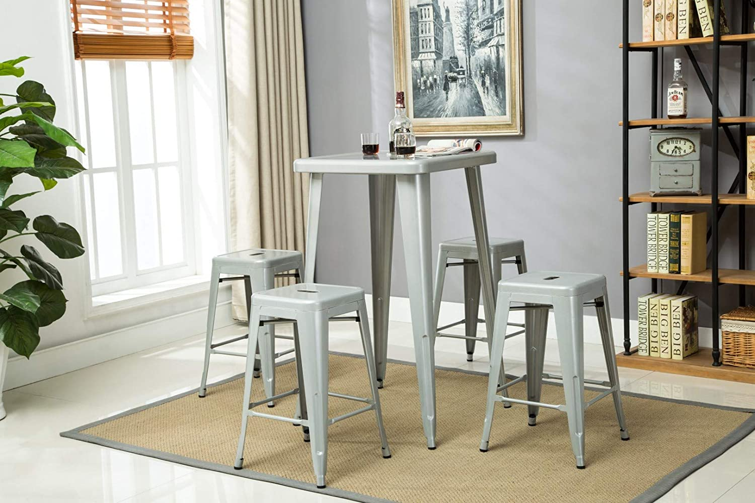 """Porthos Home Stackable Indoor & Outdoor Metal Patio Counter, 24"""" Seat Height (Set of 4) Bar Stools, One Size, Silver"""
