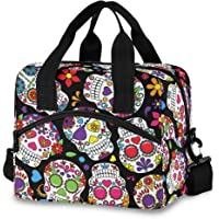 Qilmy Sugar Skull Flower Reusable Lunch Bag Insulated Cooler Lunch Tote Bag with Adjustable Shoulder Strap for Office…