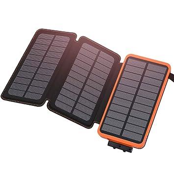 ADDTOP Cargador Solar 24000mAh, Batería Externa Portátil con 2 USB Ports Power Bank Solar Impermeable para Smartphones y Tablets