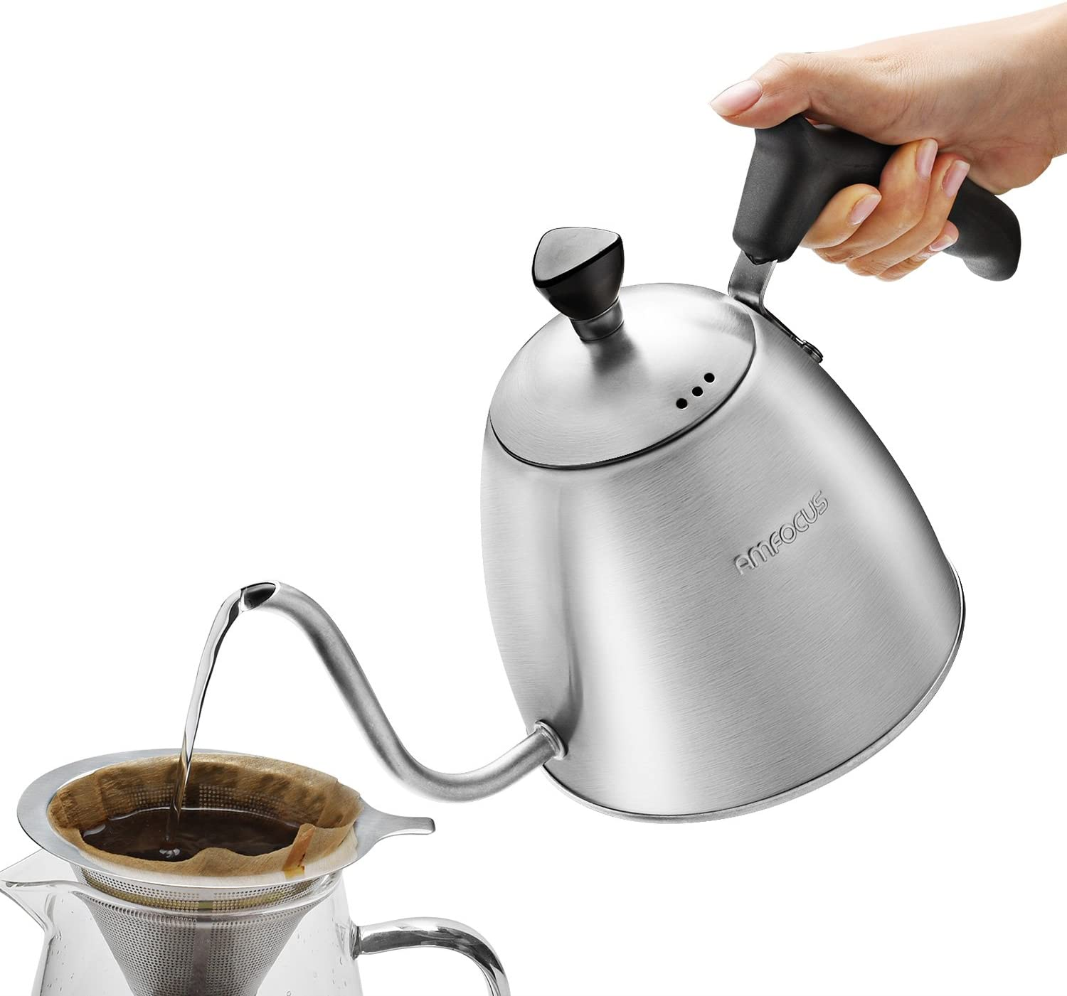 Gooseneck Kettle Tea Kettle Pour Over Kettle Pour Over Coffee Dripper, Teakettle Drip Pot with Stainless Steel Brewer and Paper Filters, 1.3L