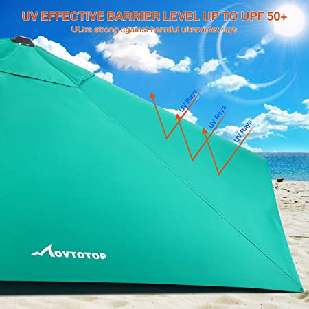 MOVTOTOP Patio Umbrella 9ft Outdoor Table Umbrella with Crank and Ventilation Weatherproof Cover, Tilt Thickened Pole and UV Protection, 6 Ribs for Pool, Porch, Outside Spaces – Turquoise