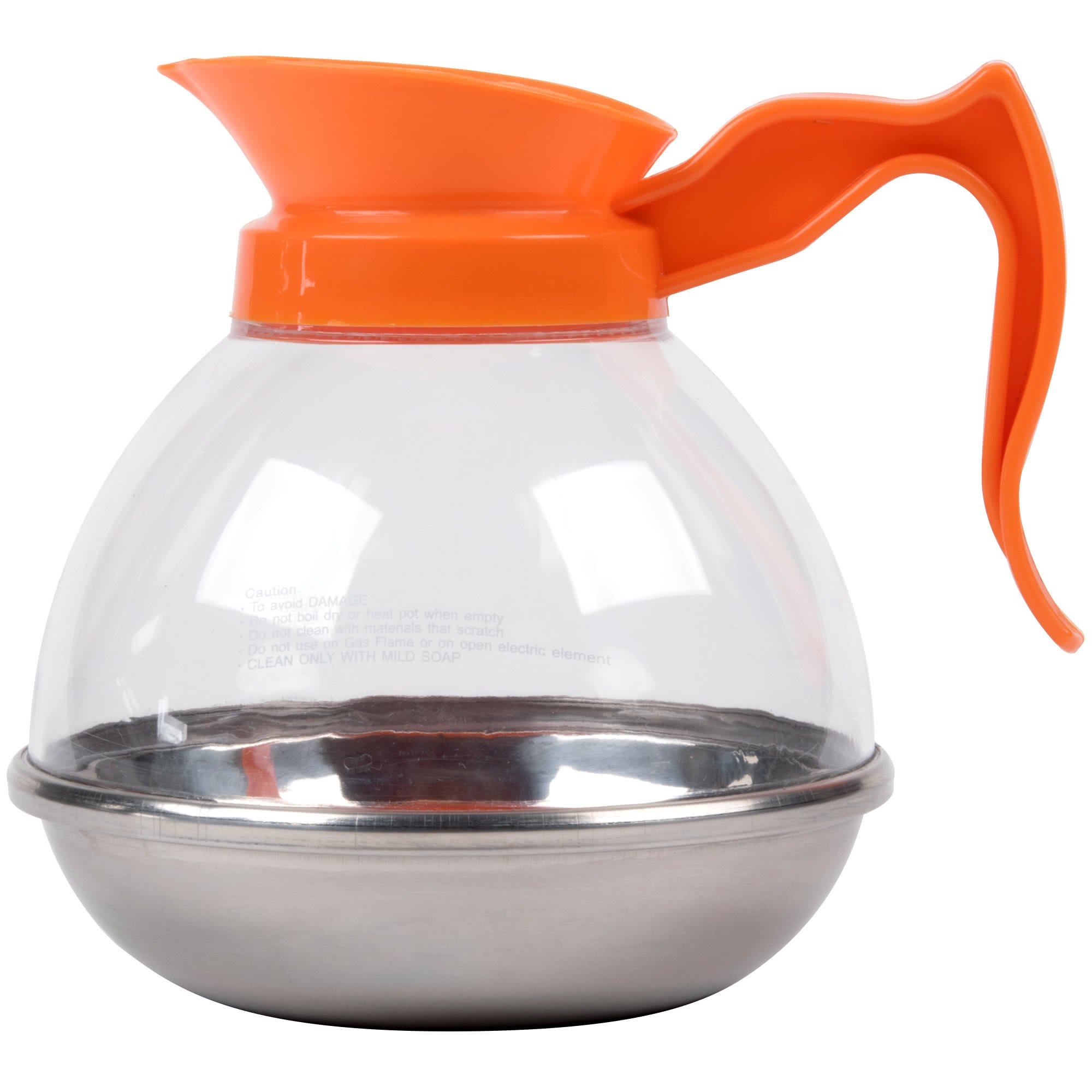64 oz. Polycarbonate Decaf Coffee Decanter with Stainless Steel Bottom and Orange Handle