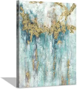 """Hardy Gallery Aqual Abstract Artwork Canvas Painting: Abstract Wall Picture Painting with Gold Foil Prints on Canvas for Kitchen (18"""" x 24"""" x 1 Panel)"""