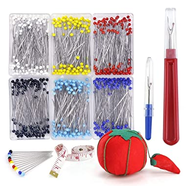 Biging 600 Pieces 6 Color Sewing Pins 38mm Multicolor Glass Ball Head Pins with Sewing Seam Ripper and Soft Tape Measure for Dressmaking Jewelry Components Flower Decoration