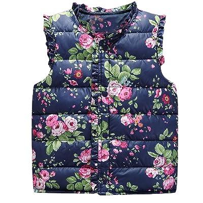 Abetteric Kids Floral Print Winter Warm Buttoned Short Outerwear Vest