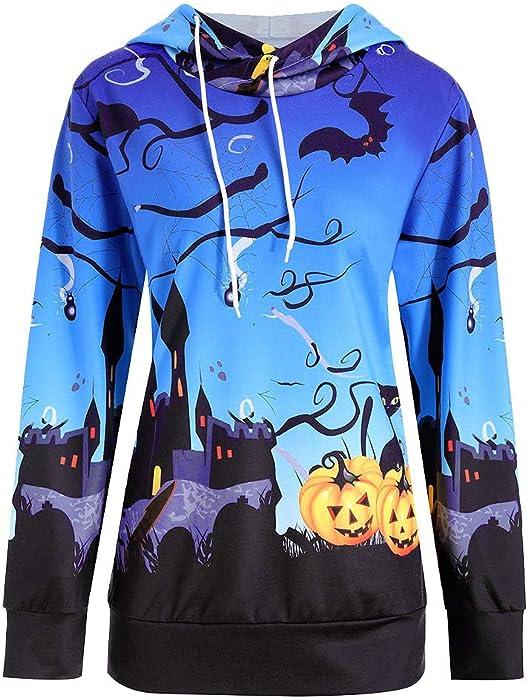 Blusas de Halloween,BBestseller Sudadera con Capucha de Manga Larga con Estampado de Calabaza de Halloween para Mujer Top Camisas Otoño e Invierno