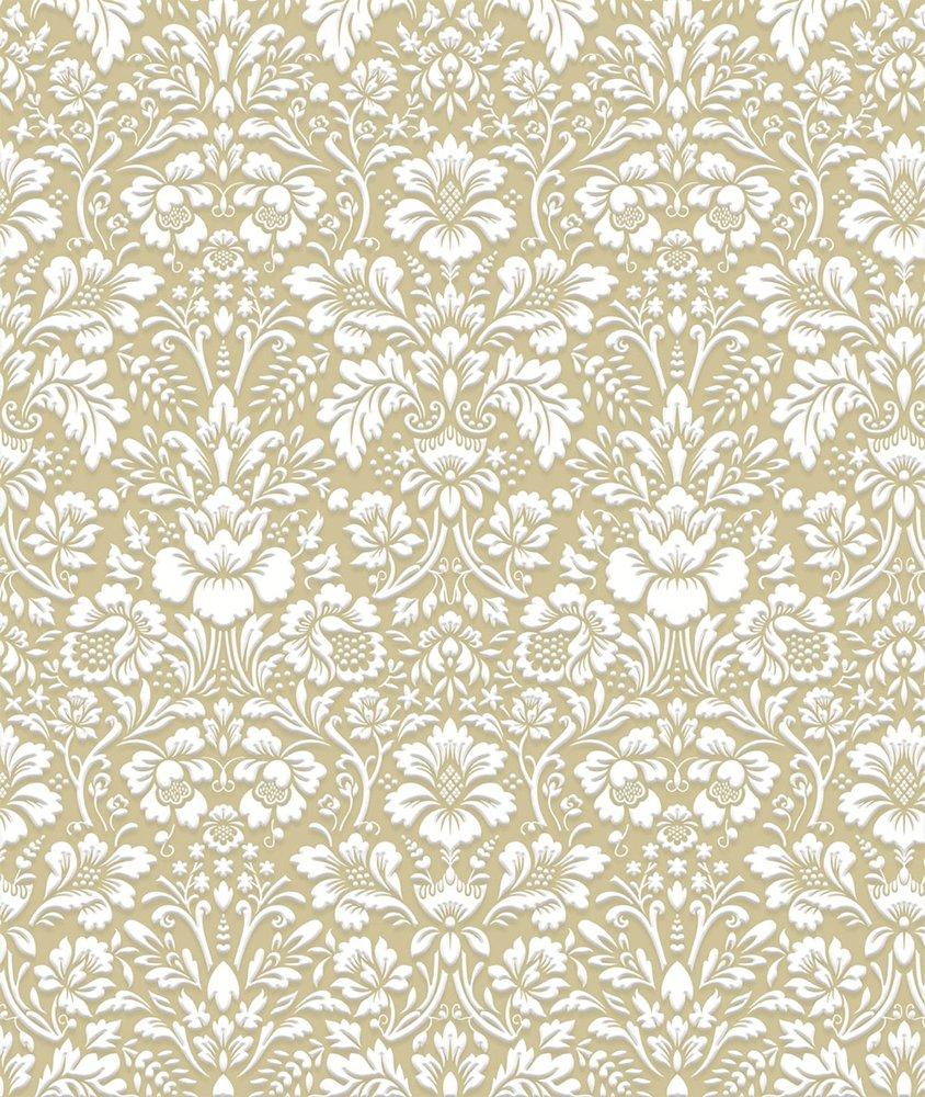 Papel de Parede Floral com Relevo Bobinex Uau Dourado
