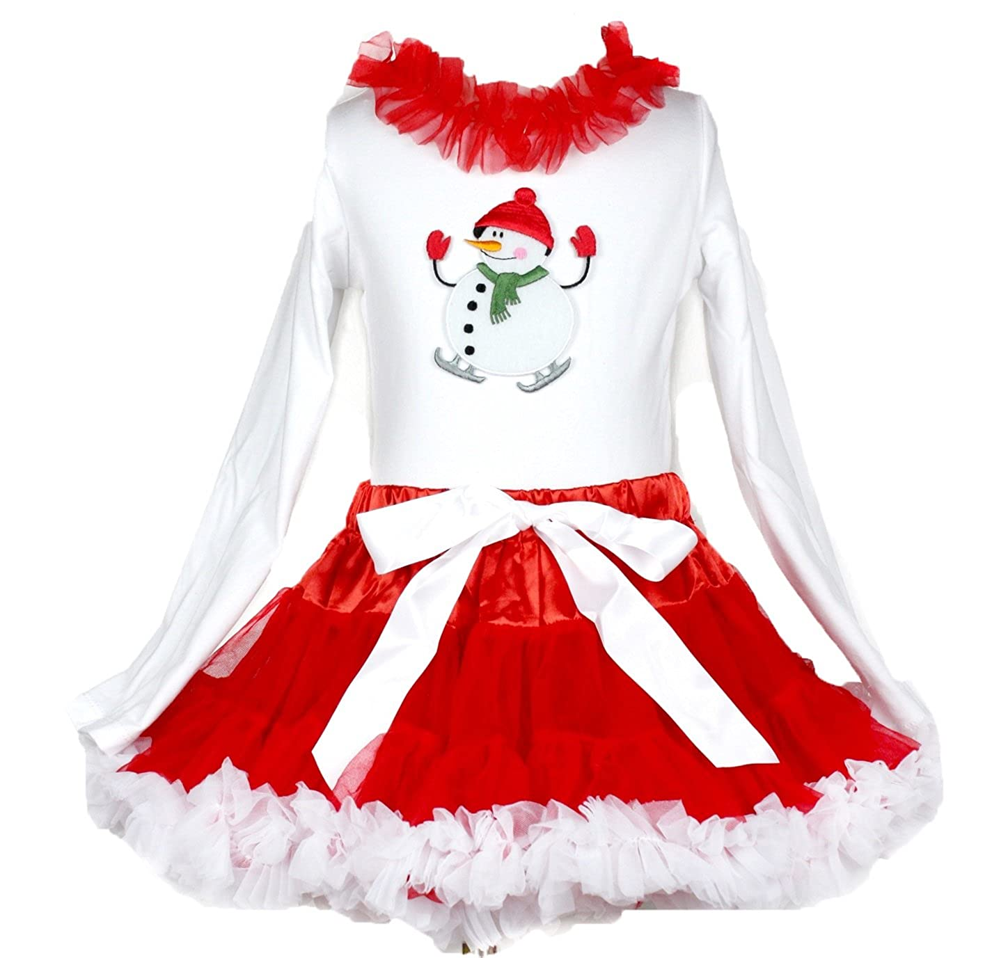 Christmas Dress Snowman Print White Cotton L//s Shirt Solid Red Skirt Set 1-8y