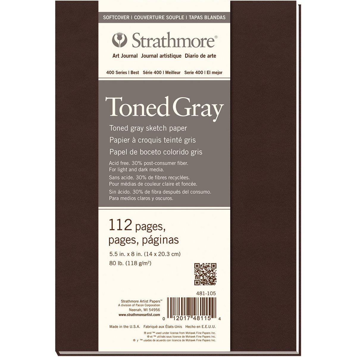 Pro-Art Strathmore Softcover Sketch Journal, 5.5 by 8-Inch, 112 Pages, Toned Gray 481-105
