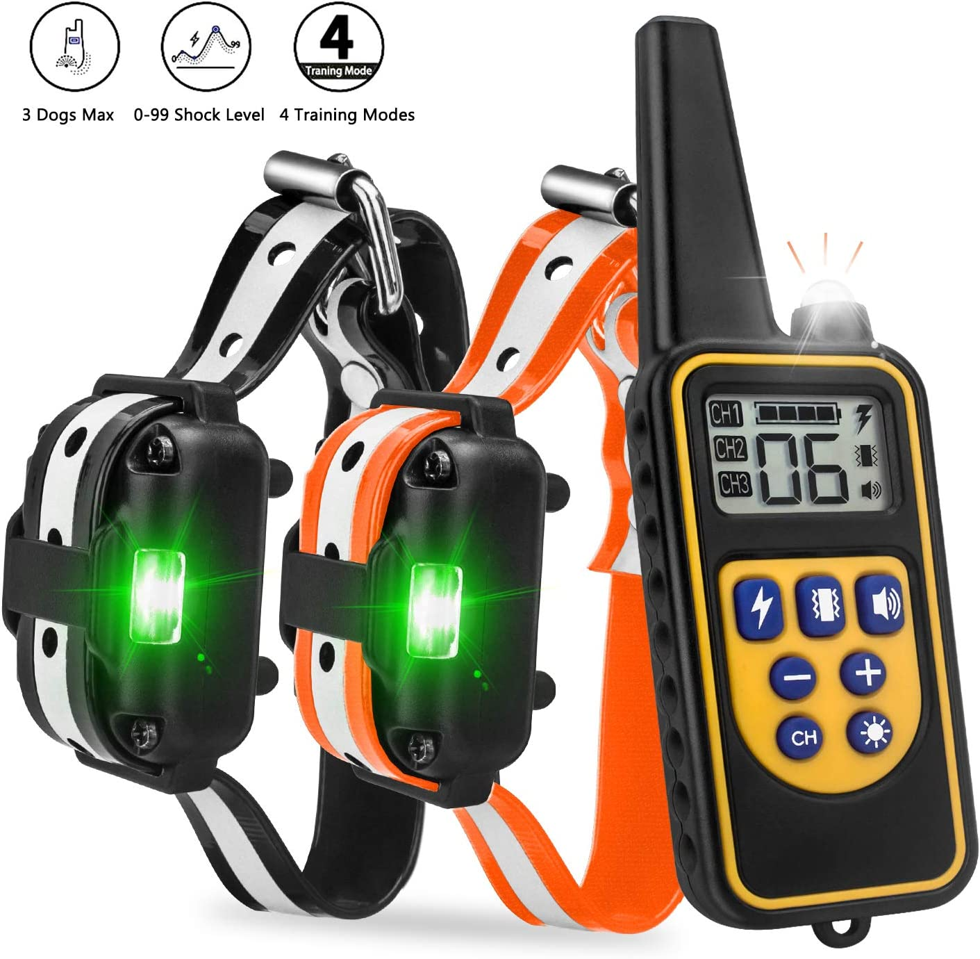 Beinhome Dog Training Collar with Remote 2 Dogs Reflective Strap Waterproof Rechargeable Receiver Collars Up to 2600FT Remote Range with Light Mode, Beep Vibration Shock