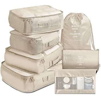 dfcad3e5144b VAGREEZ Packing Cubes, 7 Pcs Travel Luggage Packing Organizers Set with  Toiletry Bag (Beige)