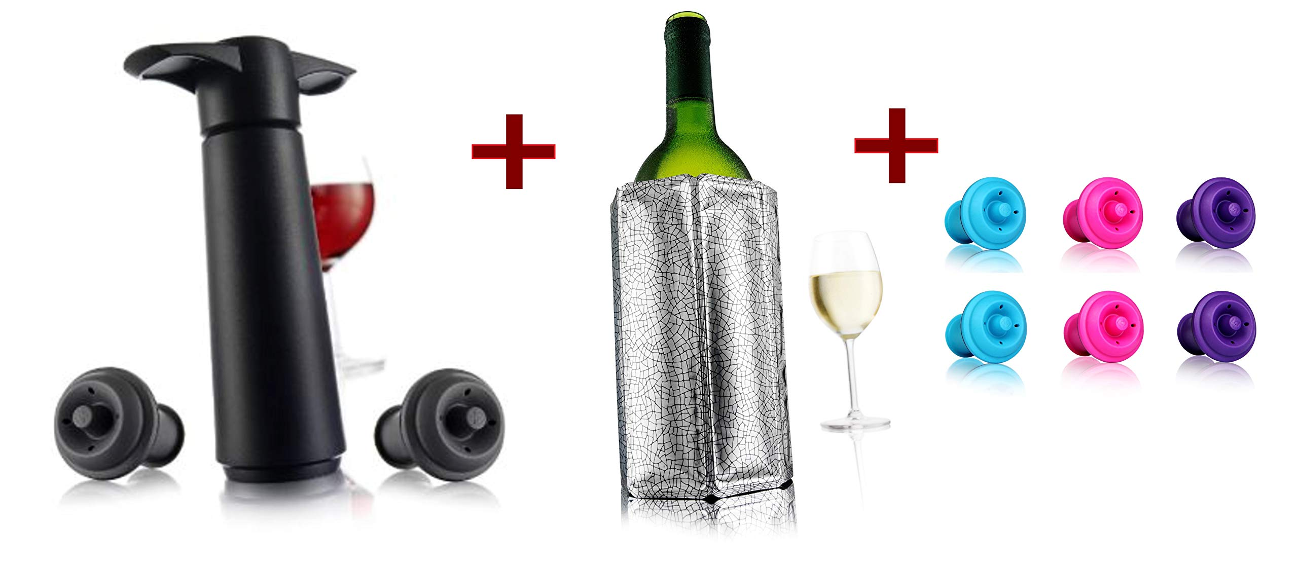 Vacu Vin Wine Saver Pump, Black with 8 Vacuum Bottle Stoppers, 2 Gray and 6 Color stoppers bundle with Vacu Vin Rapid Ice Wine Cooler - Silver by Vacu Vin