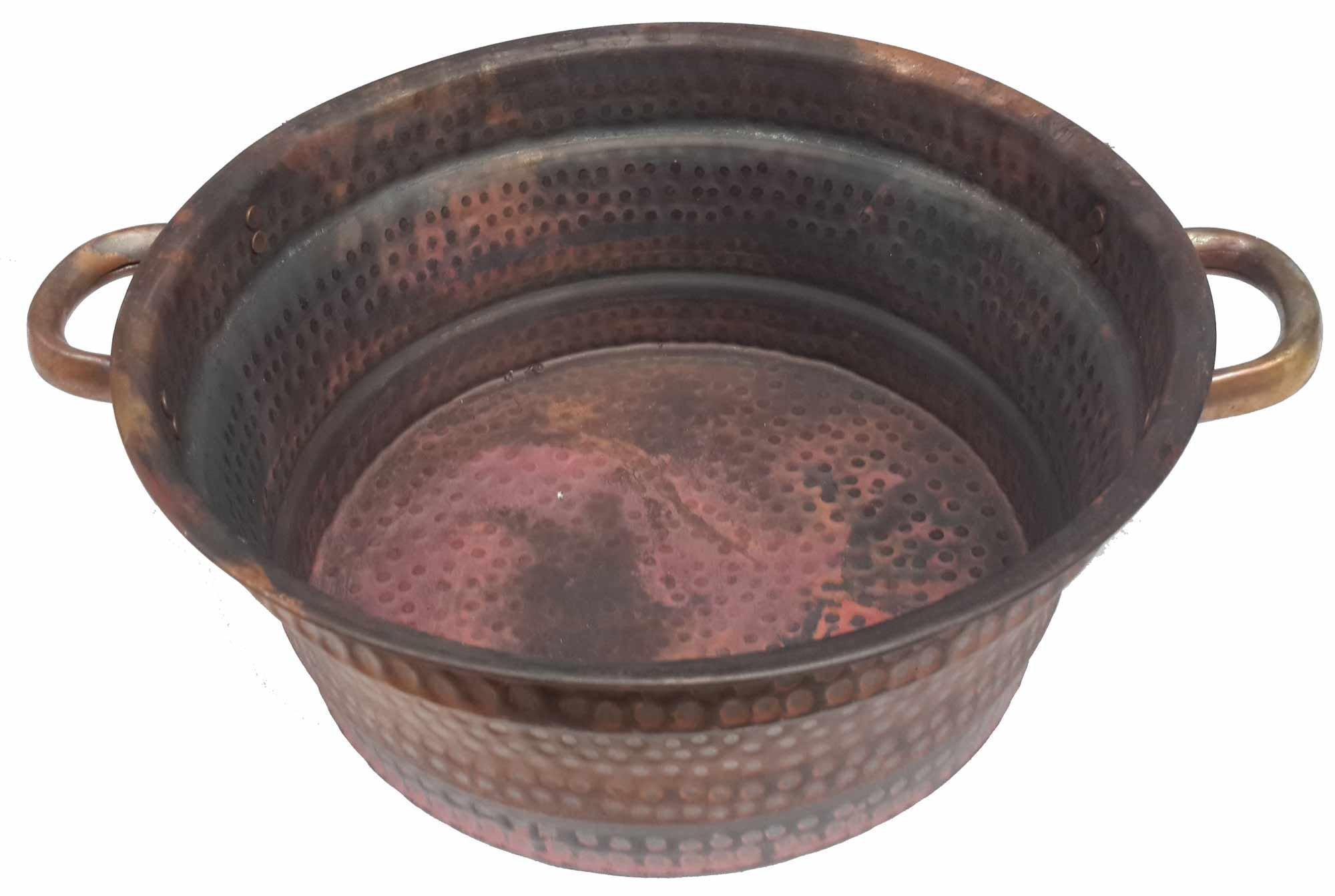 Egypt gift shops Rustic Industrial Natural Copper Petite Fire Burnt Diabetic Foot Massage Bath Pedicure Spa Beauty Salon Handles Pot Bowl Garden Storage Planter