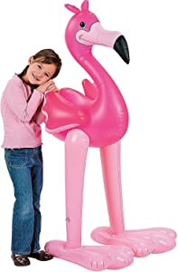 Fun Express 4.5' Giant Inflatable Pink Flamingo (Luau Party Tropical Decoration)