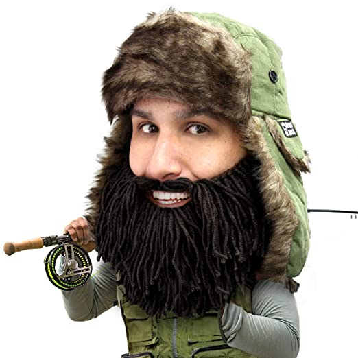 45f57e29 Amazon.com: Beard Head Barbarian Trapper Beard Hat - Faux Fur with Ear  Flaps and Beard Facemask Black: Clothing