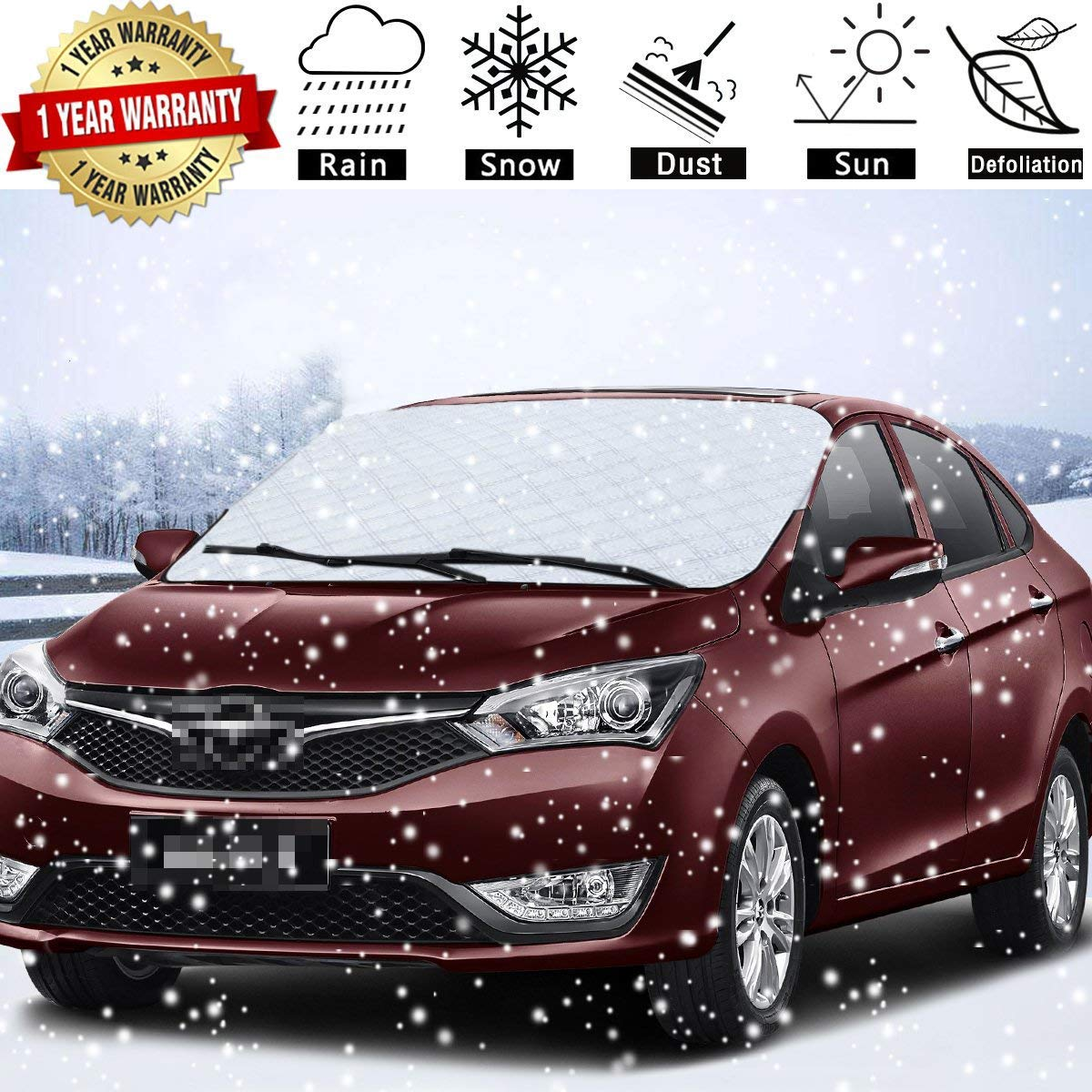 SuBleer Silver Car Windshield Cover Ice Snow Sun Shade UV Protection Sunshade Sunlight Blocker Waterproof/Windproof/Dustproof/Scratch (KM-L08R-Y9PS)