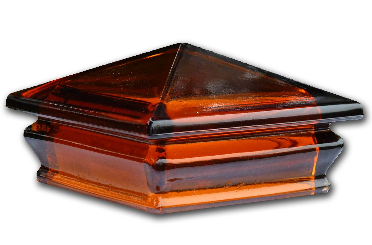 Woodway Products 870.3087 4-by-4-Inch Glass Pyramid Post Cap, 9-Pack, Amber