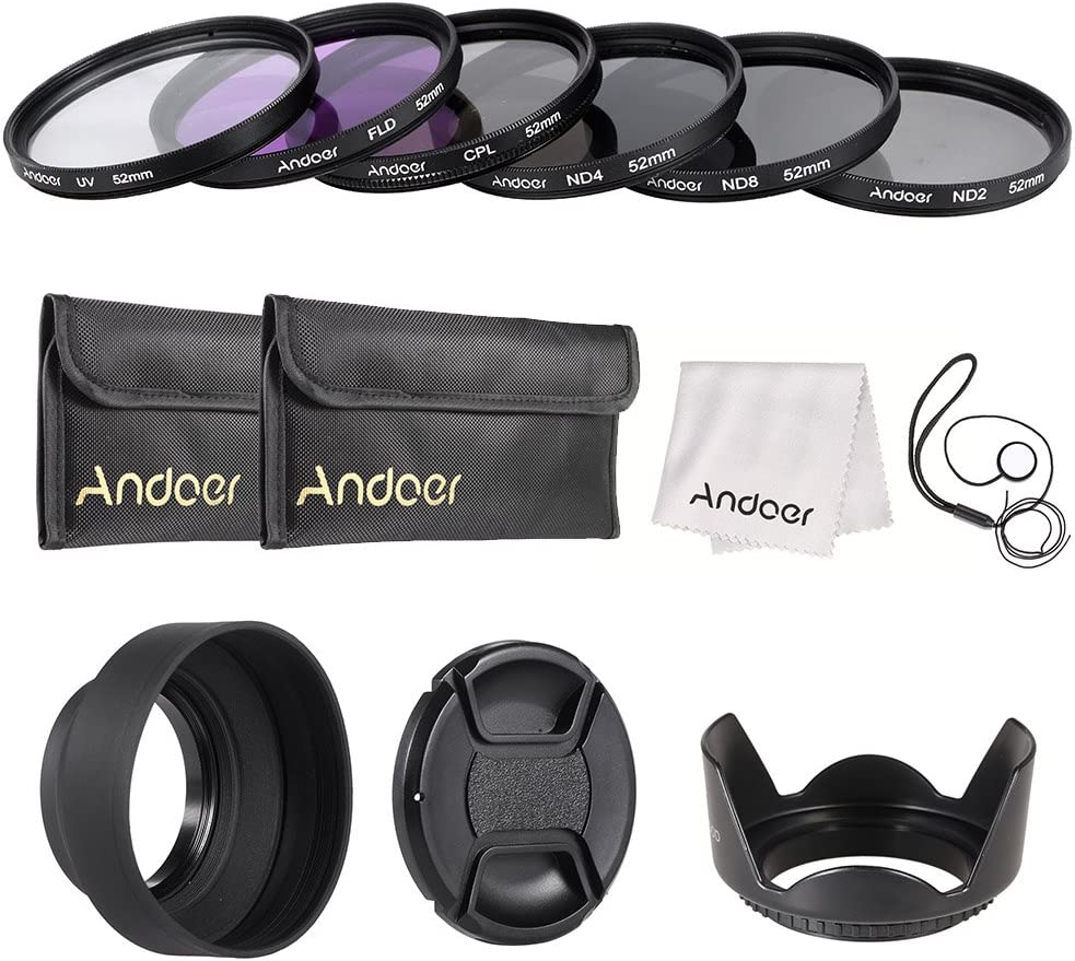 Andoer 72mm Lens Filter Kit UV+CPL+FLD+ND ND2 ND4 ND8 with Carry Pouch//Lens Cap//Lens Cap Holder//Tulip /& Rubber Lens Hoods//Cleaning Cloth
