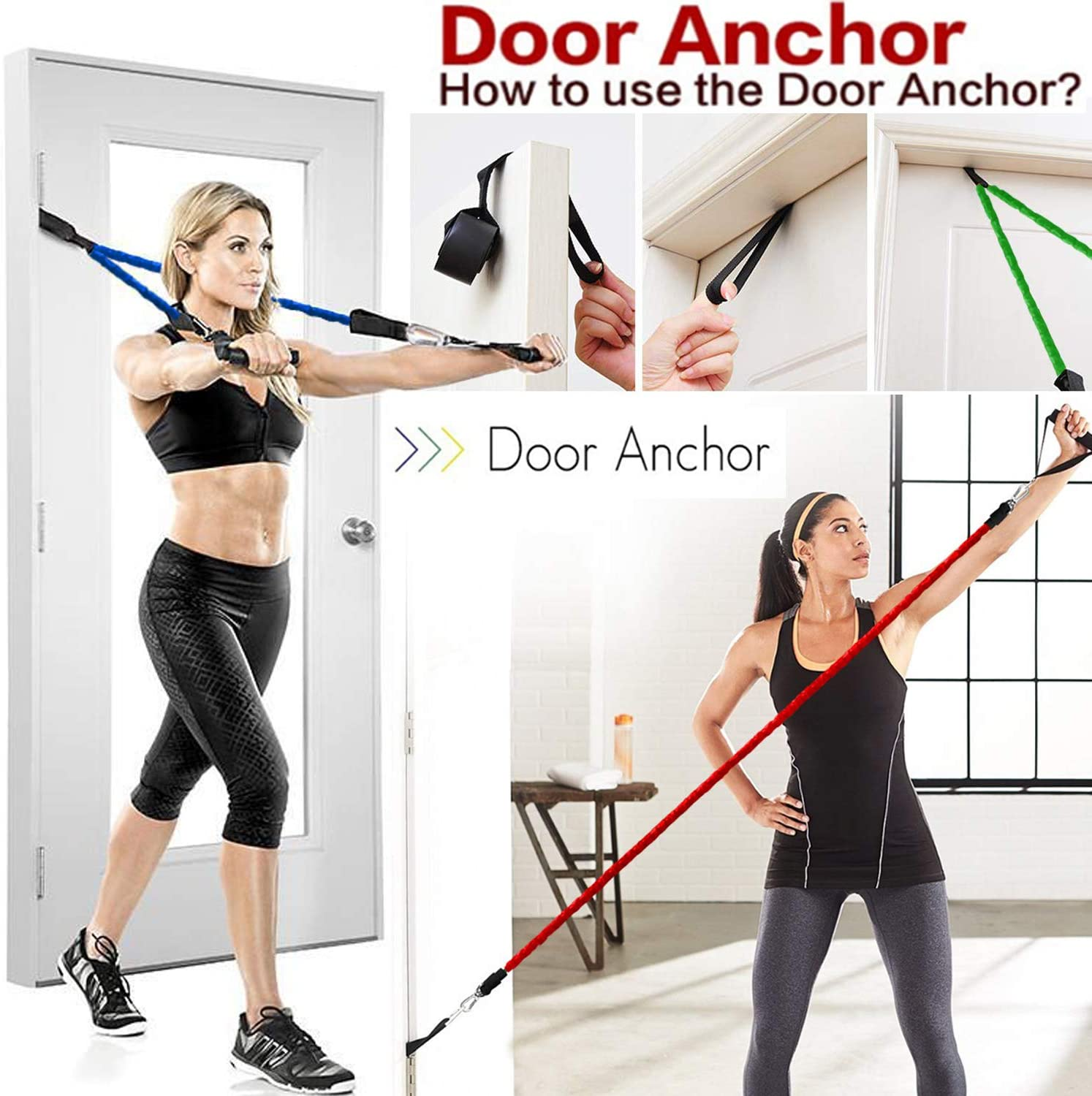 Ktrwer 16 Pcs Resistance Bands Set Workout Exercise Bands with Handles Door Anchor Carry Bag Resistance Loop Bands for Home Fitness Crossfit Stretching Strength Training