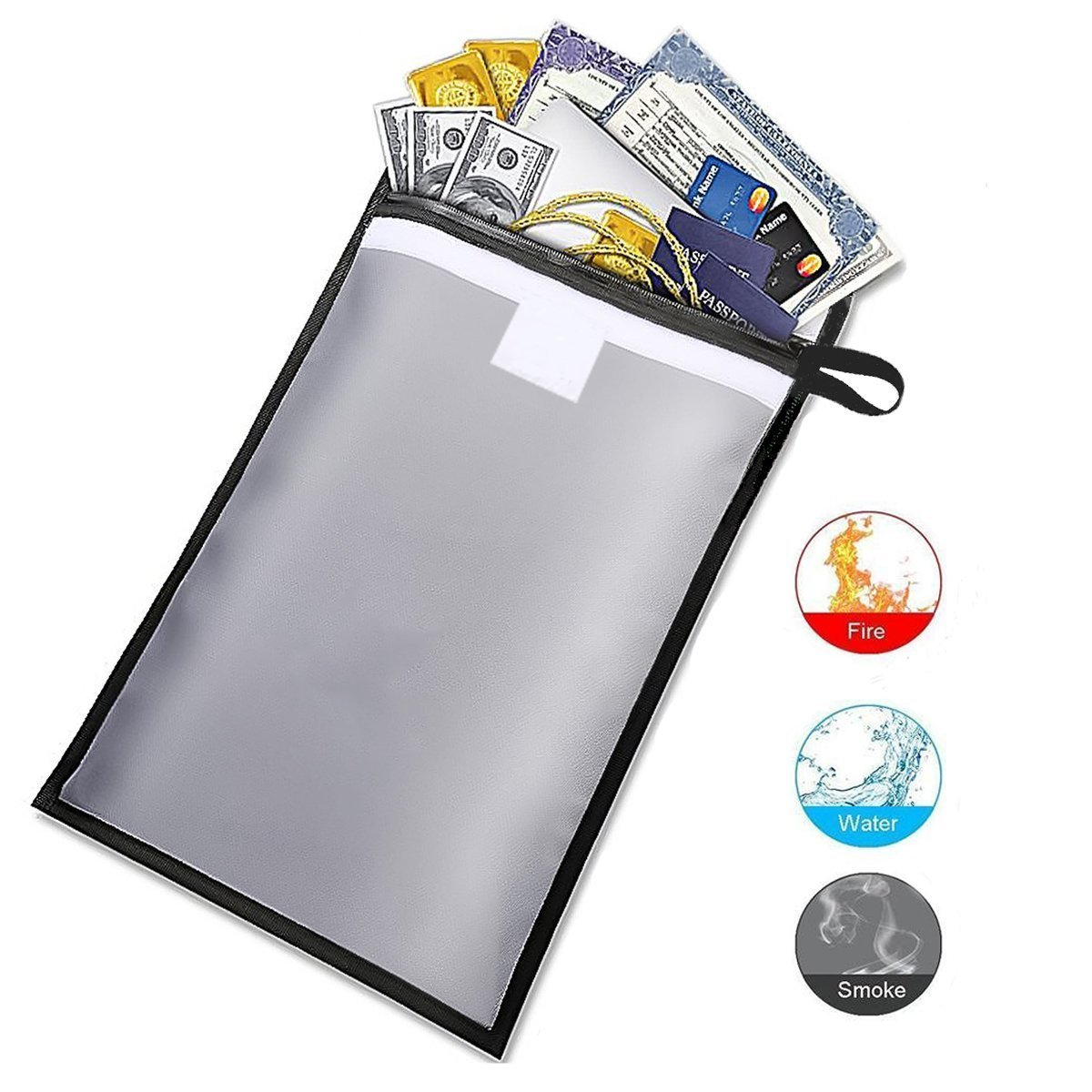 Ewolee Fireproof Document Bag, Fire Water Resistant Large Money Bag Envelope Holder with Zipper and Velcro Closure, Waterproof Fireproof Safe Pouch Holder Storage for Money, Documents, Jewelry and Passport ( 15 x 11 Gray)