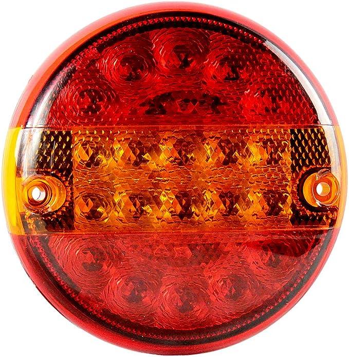 Aohewei 20 Led Anhänger Rücklicht Runden Bremsleuchte Lkw Blinklicht Beleuchtung Licht Anhalten Anzeige Lampe Wasserdicht 10 30v Für Anhänger Lkw Wohnwagen Oder Van 20 Led Chips Auto