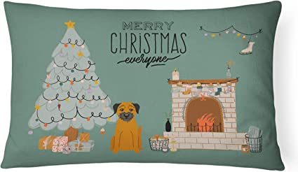 Amazon Com Caroline S Treasures Ck7602pw1216 Border Terrier Christmas Everyone Canvas Fabric Decorative Pillow Patio Furniture Pillows Multicolor Garden Outdoor