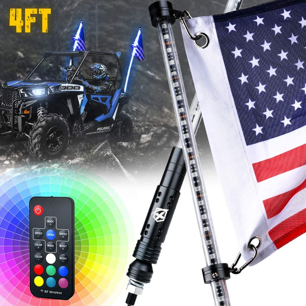 Xprite 6ft Remote Control LED Flag Pole Whip Light with RGB Colors for Polaris RZR XP 1000 Can Am Maverick X3 Yamaha UTV ATV