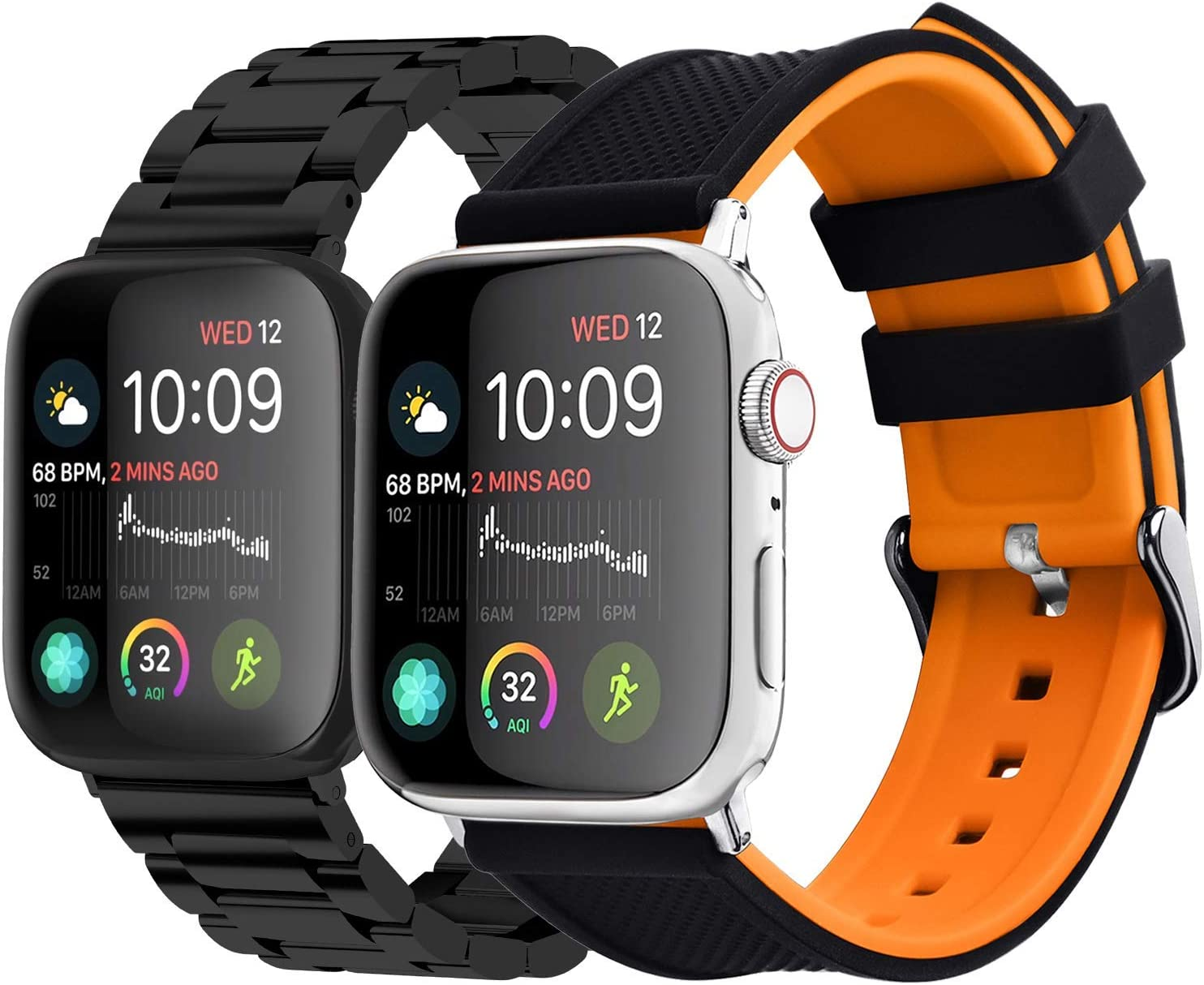 Fullmosa Compatible Apple Watch Stainless Steel Band with Case 44mm 42mm Black & Compatible Apple Watch Silicone Rubber Band 42mm 44mm Black Top/Pumpkin Orange Bottom