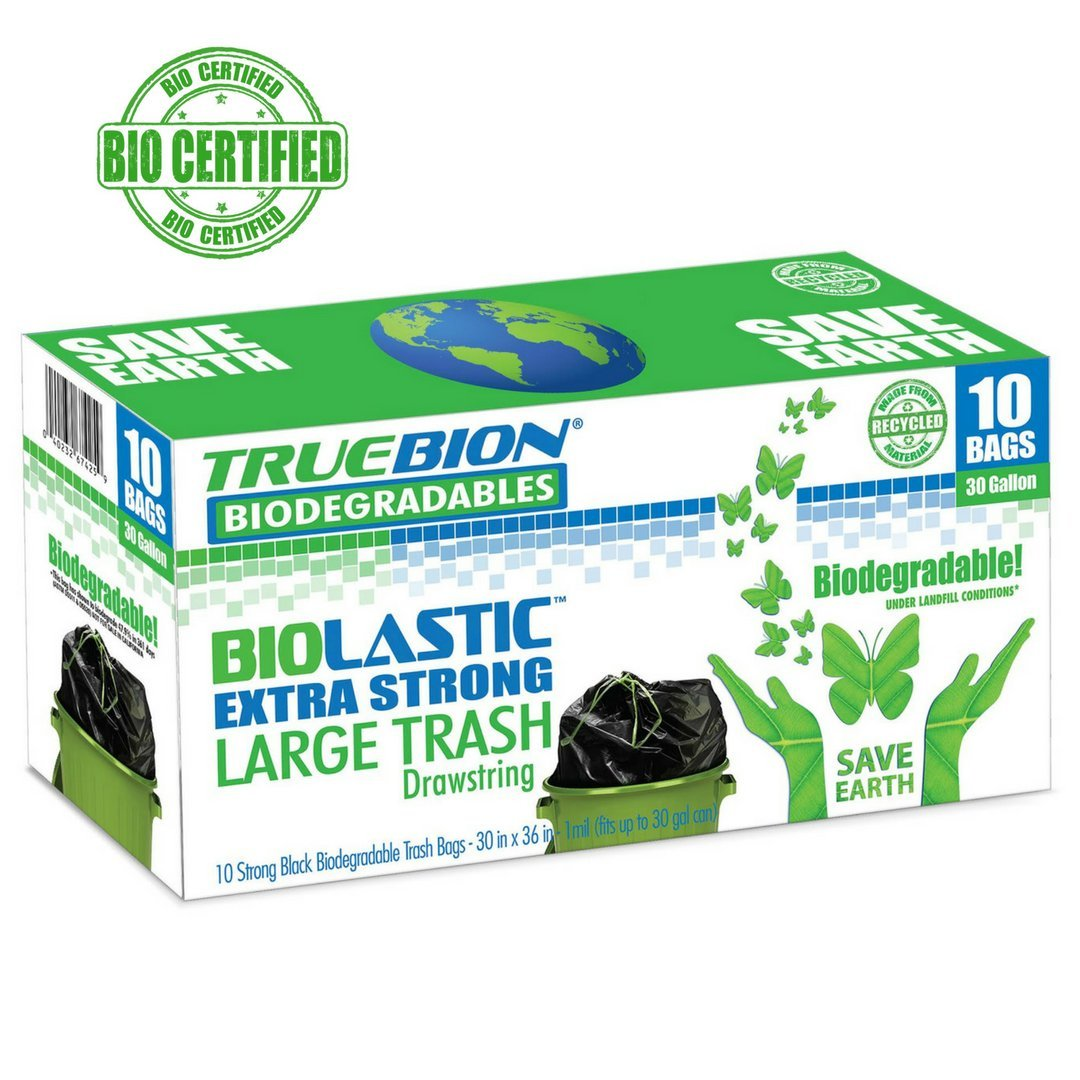 TRUEBION Certified ASTM D5511 D5526 100% Biodegradable, 10 Count,30 gallons, Heavy...
