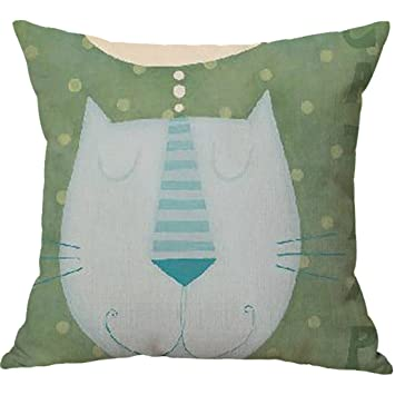 Xuexian (TM) gato cabeza Animal cuadrado manta fundas de almohada caso, algodón, lino, Verde, talla única: Amazon.es: Hogar