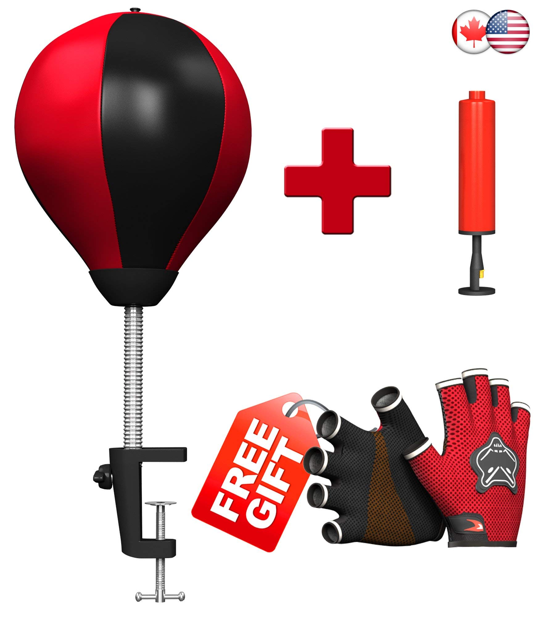 Desk Punching Bag With Clamp – Stress Buster Relieves Stress & Anxiety – Locking Clamp Securely Holds Desktop Punching Bag To Table - Fun Office Desk Accessories - Pump & Fitness Gloves Included