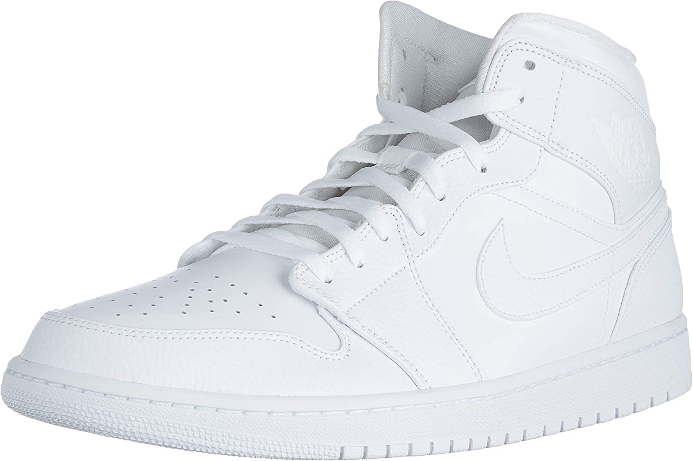 Nike Jordan Men's Shoes Air Jordan I Mid Triple White 554724-130