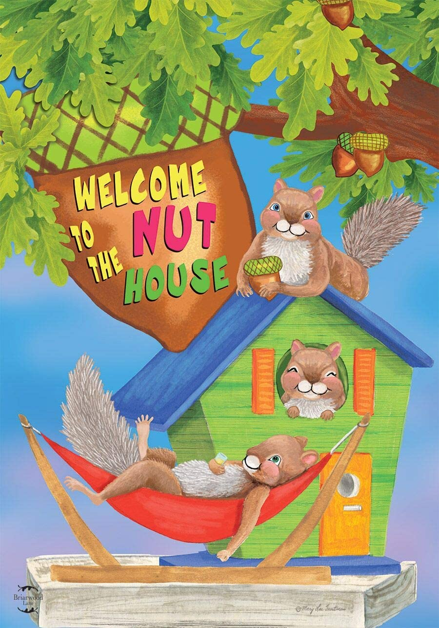 Briarwood Lane The Nuthouse Summer Garden Flag Squirrels Humor 12.5
