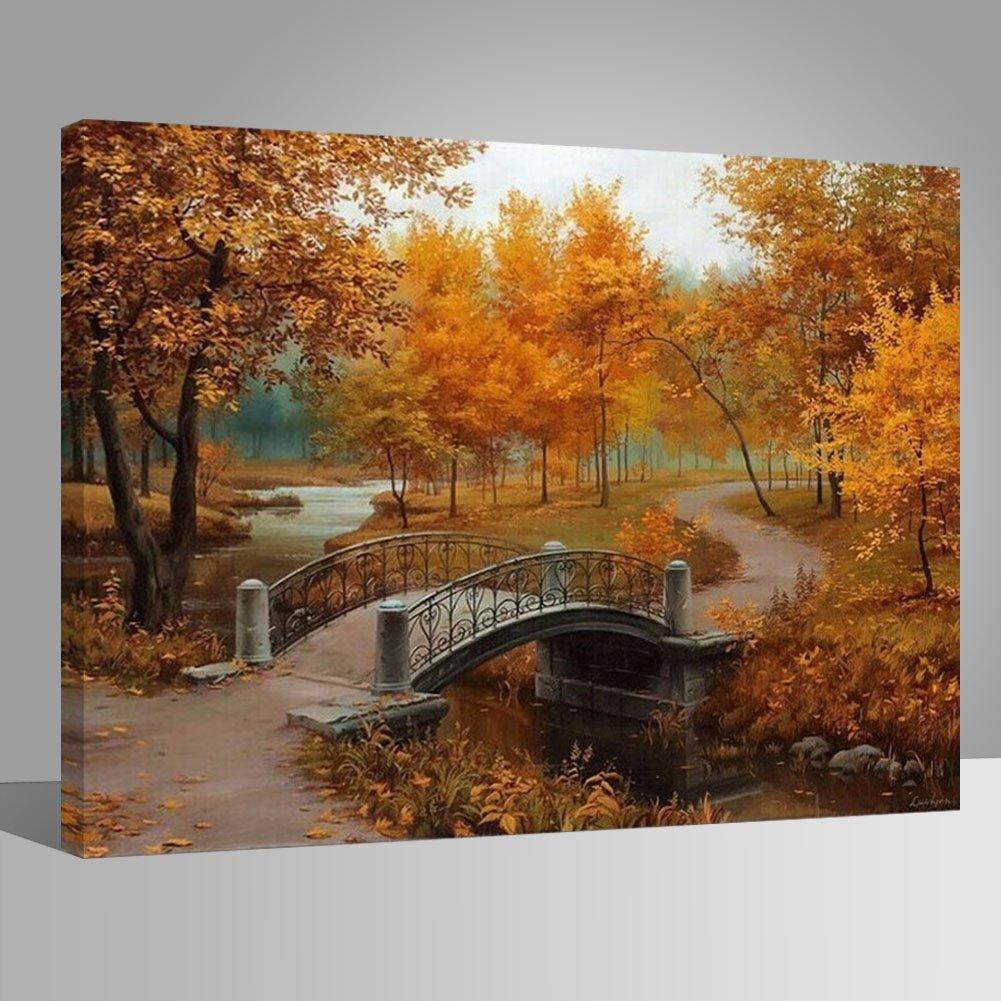 estampado de paisaje con lago with wood frame Juego de pintura Rihe con marco de madera para pintura al /óleo por n/úmeros Japanese Garden puente y /árboles decoraci/ón para el hogar