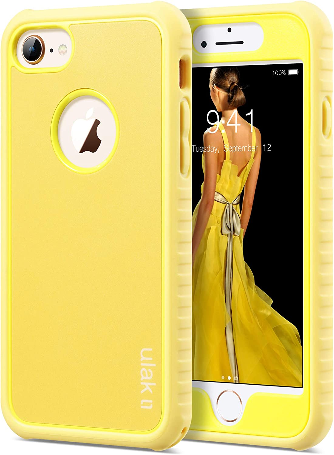 ULAK iPhone 8 & 7 Case Shock-Absorbing Flexible Durability TPU Bumper Case, Durable Anti-Slip, Front and Back Hard PC Defensive Protection Cover for Apple iPhone 7 4.7 inch,Yellow