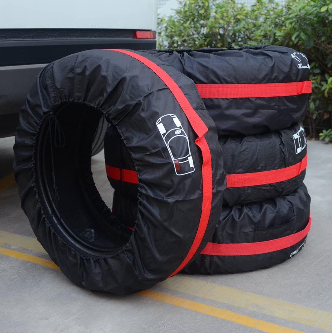 J/&C Tire Cover Tote Set of 4 Waterproof Dust-Proof Universal Spare Wheel Tire Cover Tyre Protection/  for SUV Car