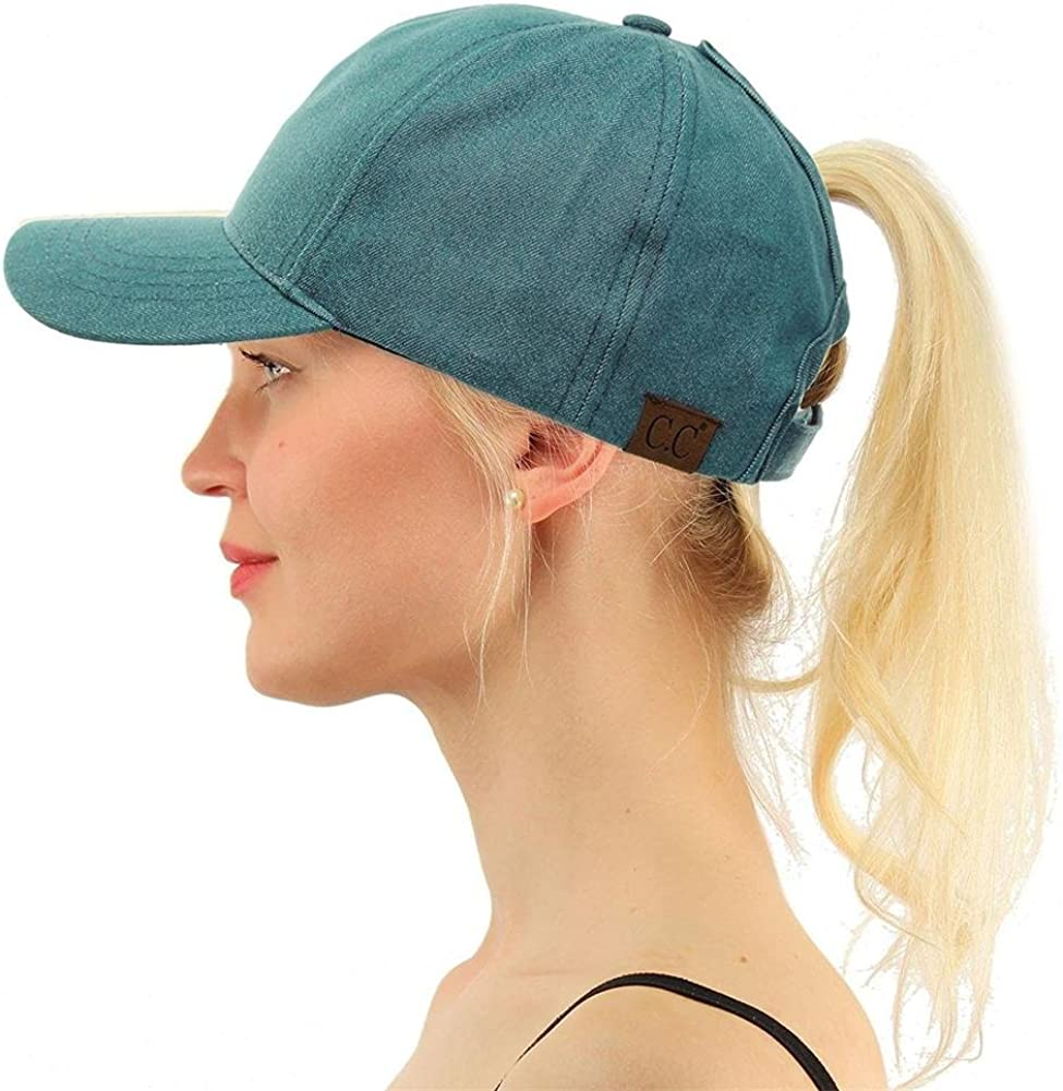 MOWANG Ponytail Baseball Cap Messy Ponytail Adjustable Mesh Womens Baseball Cap Grey