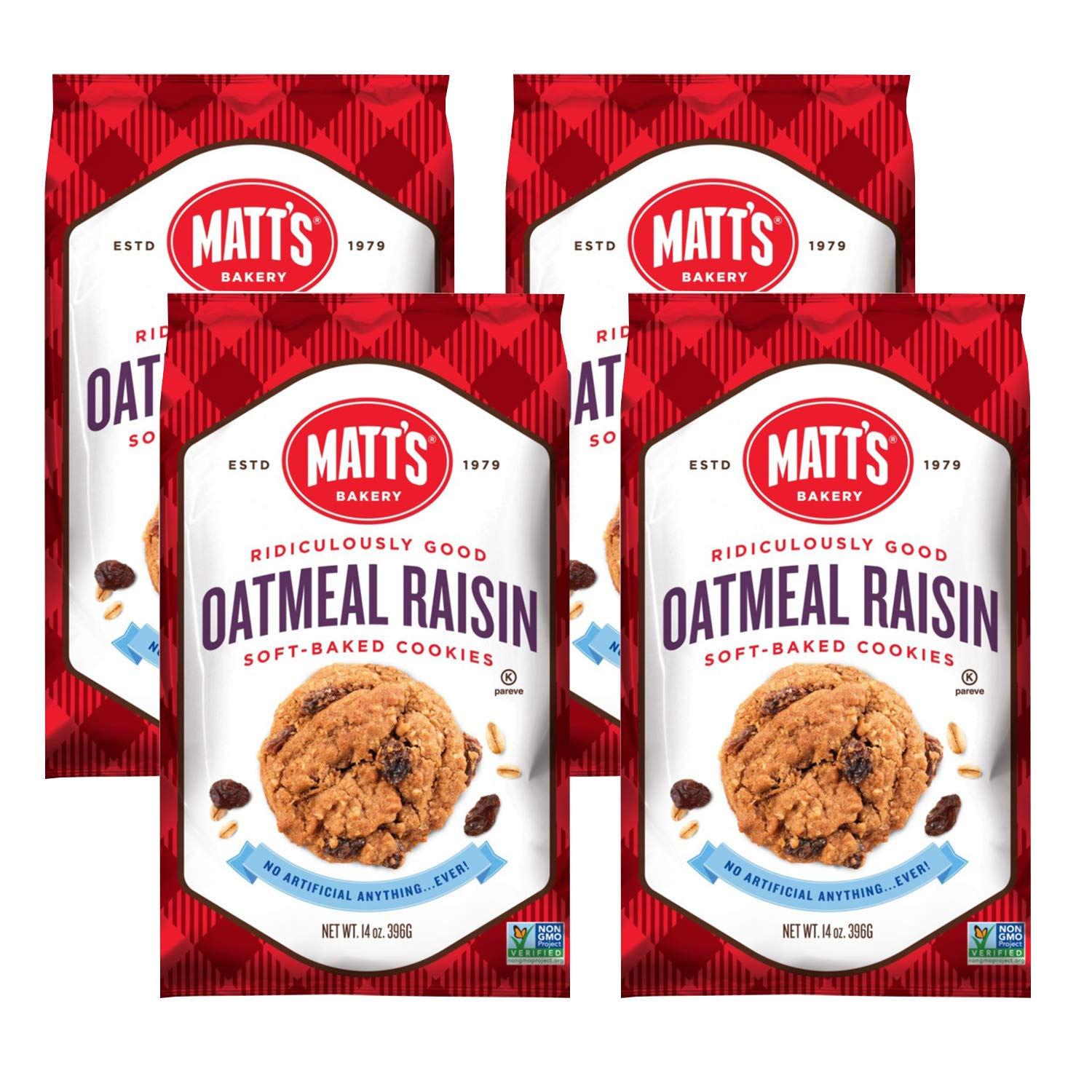 Matt's Cookies Oatmeal Raisin Soft-Baked Cookies, All Natural Ingredients, Non GMO, 14 oz Bag, 4 Count