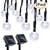Qedertek 2 Pack Globe Outdoor Solar String Lights, 19.7ft 30 LED Solar Globe Lights Outdoor for Home, Patio, Lawn, Garden, Party and Holiday Decoration(Cool White)