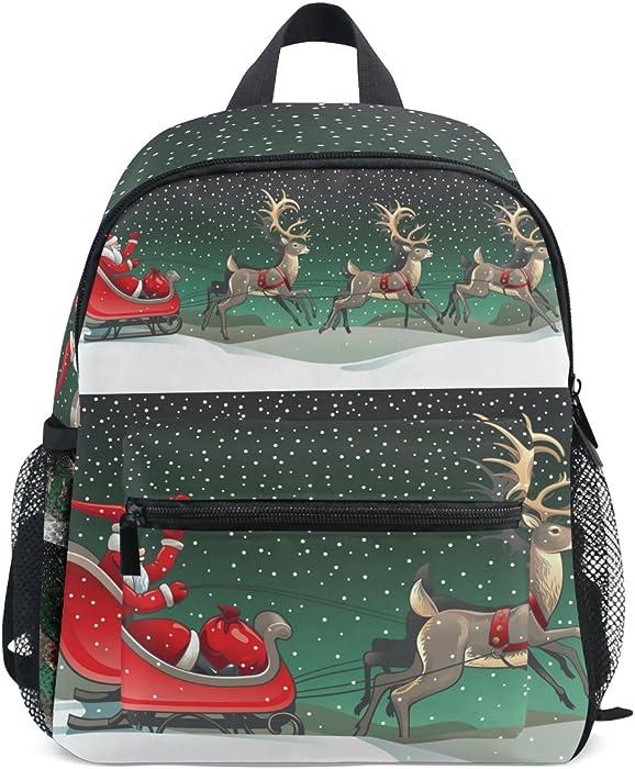 c57d29f18d96 LORVIES Santa Sleigh And Reindeers Mini Kids Backpack Pre-School  Kindergarten Toddler Bag