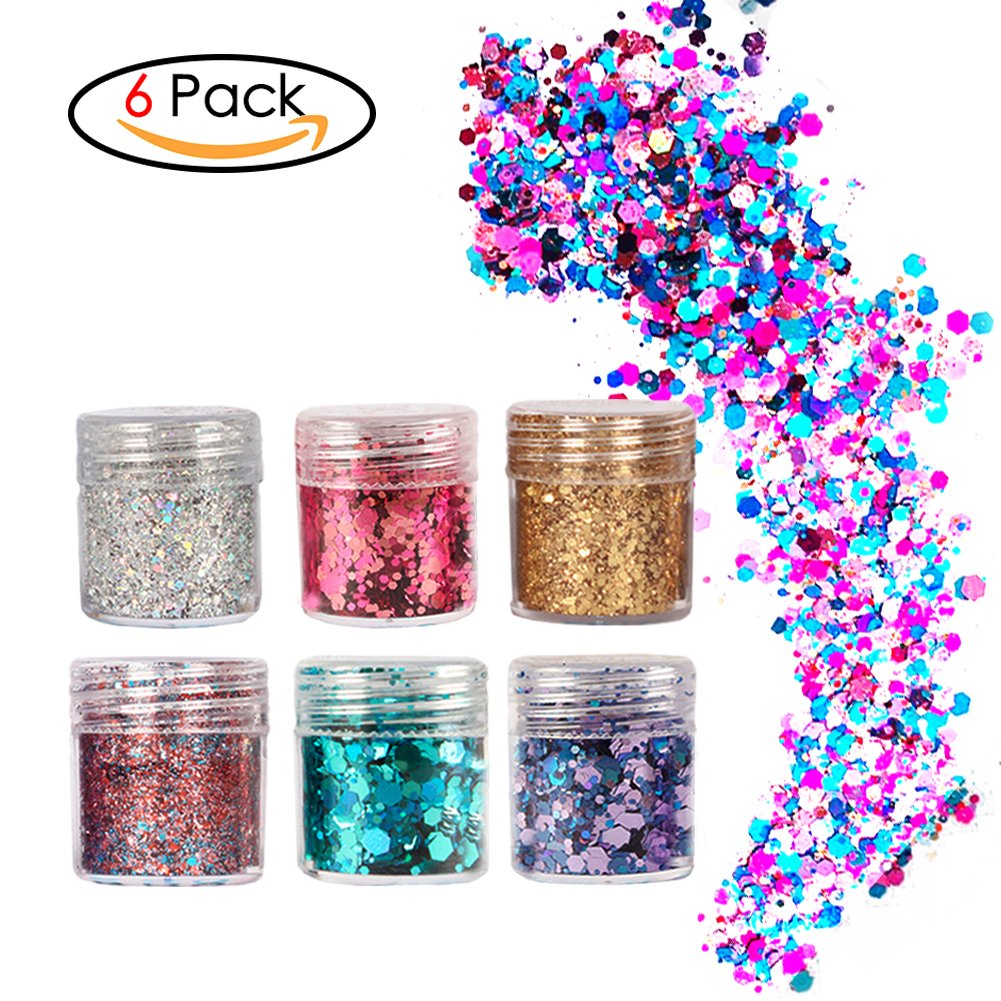 Face Glitter Chunky Glitter Faces and Bodies Cosmetic Hexagons Glitter Paillette Sparkling Decoration Glitter Hair and Nails 8 Colour for Festival Christmas CNCX