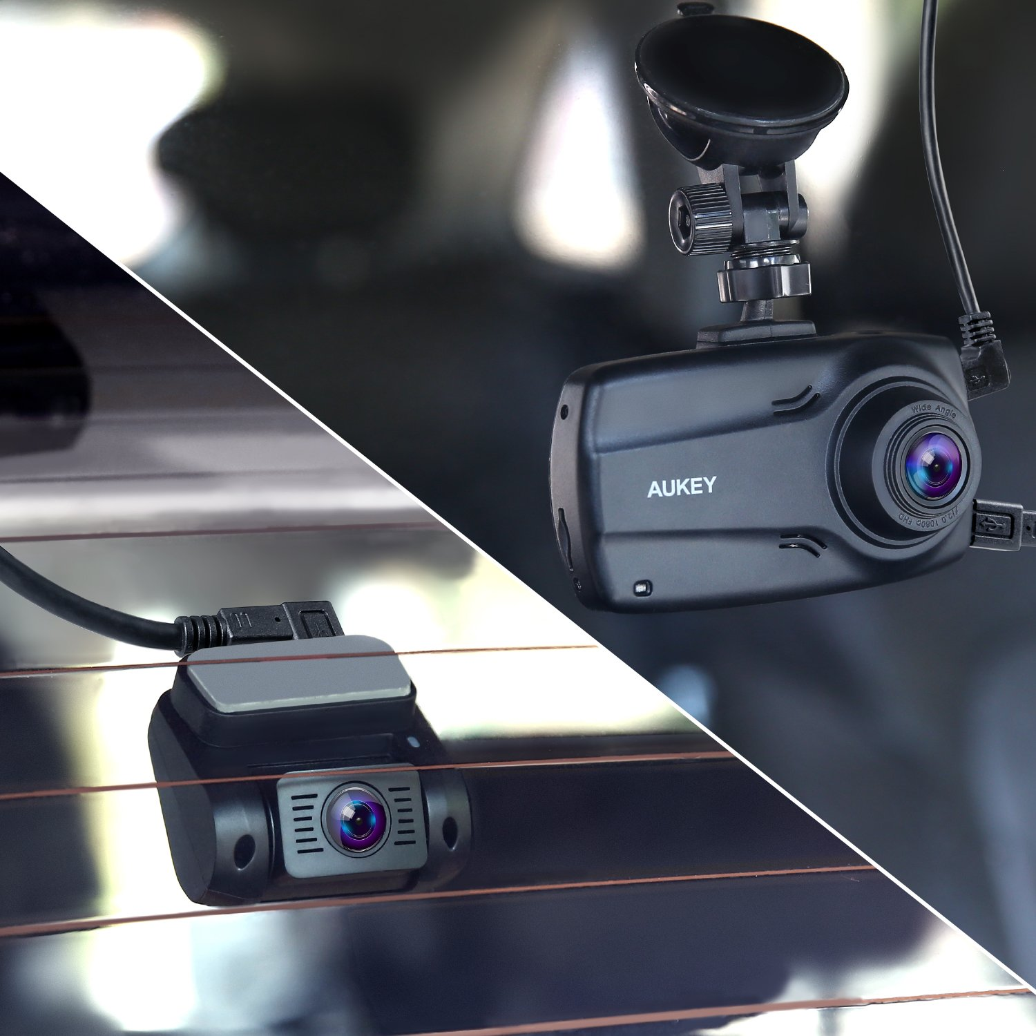 """AUKEY 1080p Dual Dash Cams with 2.7"""" Screen, Full HD Front and Rear Camera, 6-Lane 170° Wide-Angle Lens, G-Sensor, and Dual-Port Car Charger by AUKEY (Image #7)"""